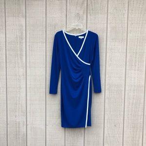 Calvin Klein blue white wrap sheath cocktail dress